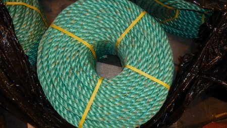 a coil of green 18mm polypropylene rope