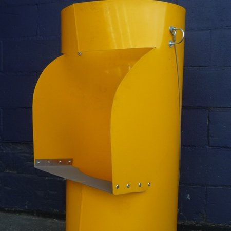 A rubbish chute with a side entry in Yellow