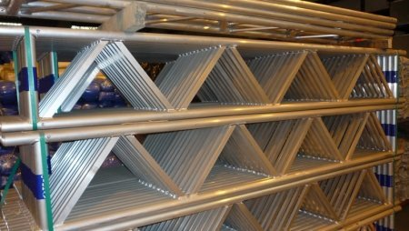 Grey aluminium lattice beams