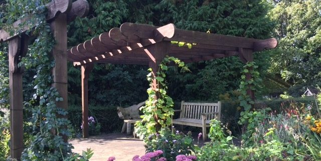 Pergola made with reclaimed scaffold boards